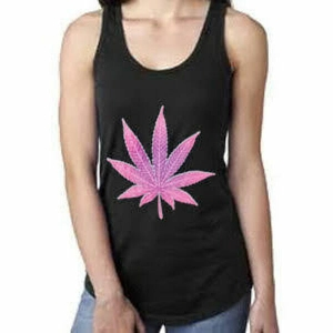 Pink Pot Leaf Tank Top