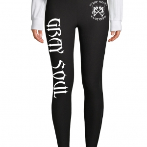 Black yoga pants with Gray Soul in white lettering