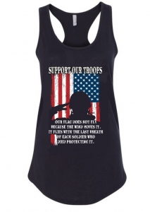 black tank with solider against American flag