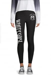 Black yoga pants with WHITEGIRL in white lettering