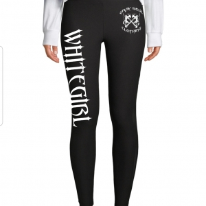 Black yoga pants with WHITEGIRL in white lettering