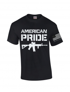 black t with American pride in white lettering and AR15 image