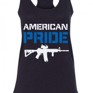 black tank with american pride (blue) and image of rifle