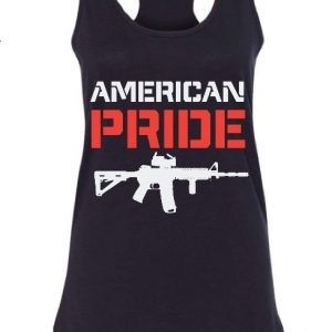 black tank with american pride (red) and image of rifle