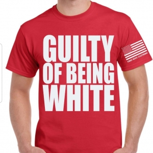 red t with guilty of being white in white letters