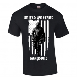 t-shirt with soldier in front of the flag