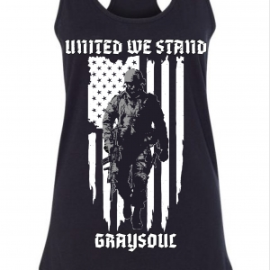 soldier against the American flag black tank top