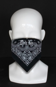 black cowboy style bandana with white lettering