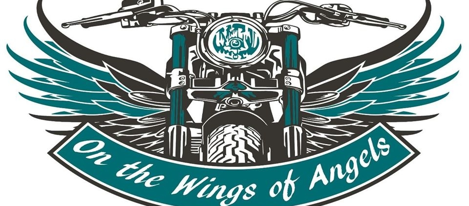 angel eyes logo motorcyle front with blue wings